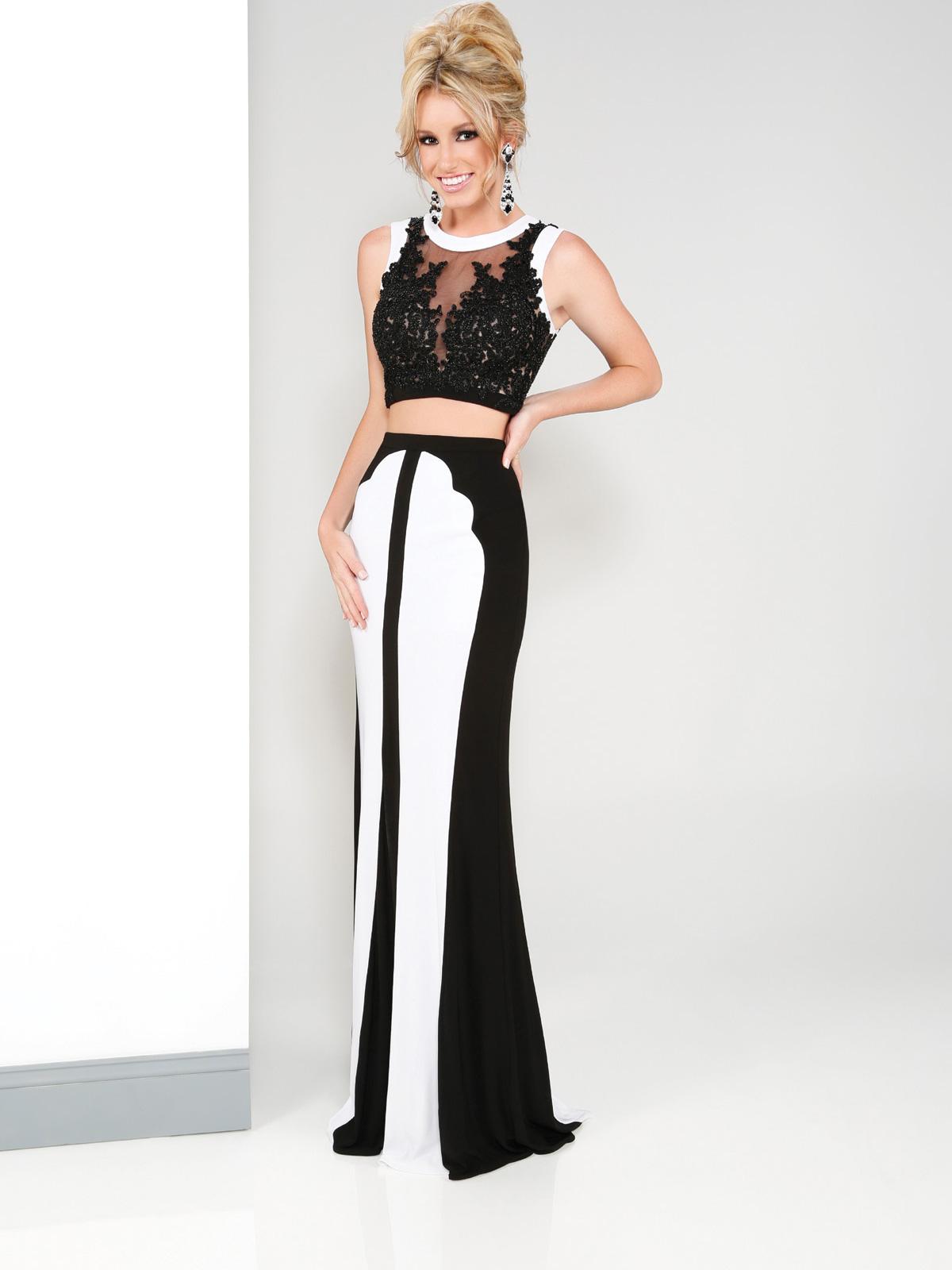 Vestido de Festa crooped com top em renda com transparência colo e costas, saia sereia bicolor.