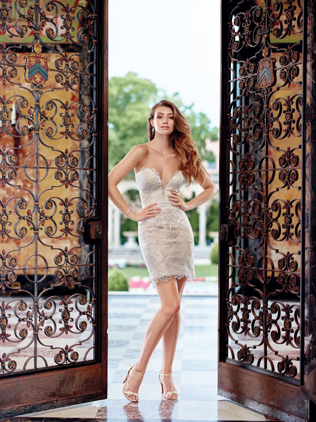 Vestido de Noiva duas peças, tomara que caia com decote princesa e transparência, justo e curto confeccionado em renda soutache francesa e detalhe de saia sobreposta com cauda em tule francês.