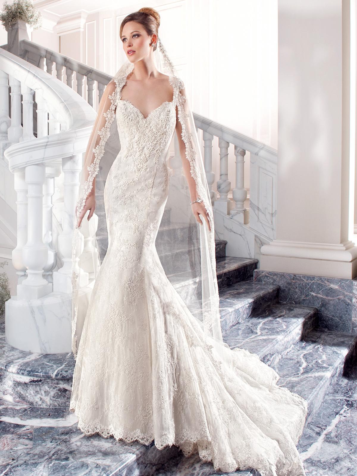 Vestido de Noiva com alças e todo em renda francesa, corte sereia com decote princesa na frente e costas bem profunda, leve cauda com barrado.